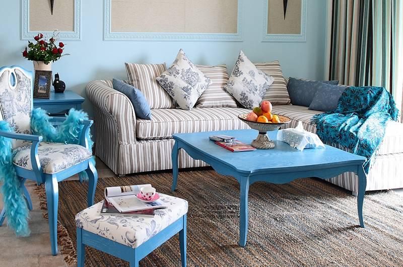 地中海风格样板房客厅装修效果图
