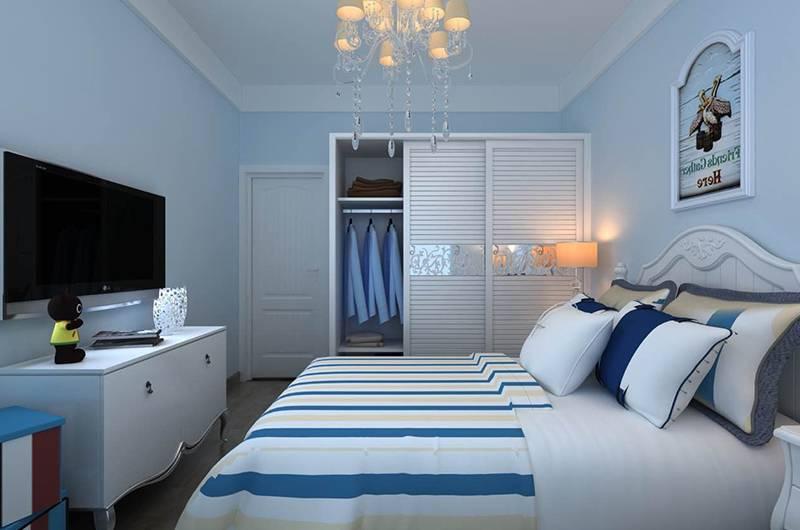 地中海风格样板房卧室装修效果图